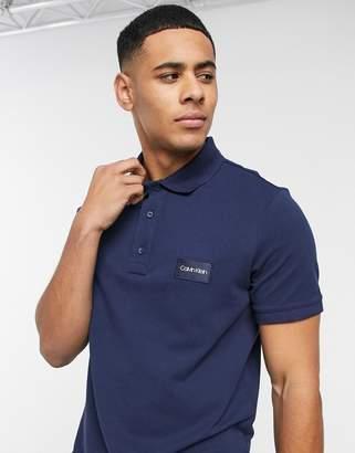Calvin Klein pique logo badge polo shirt-Navy