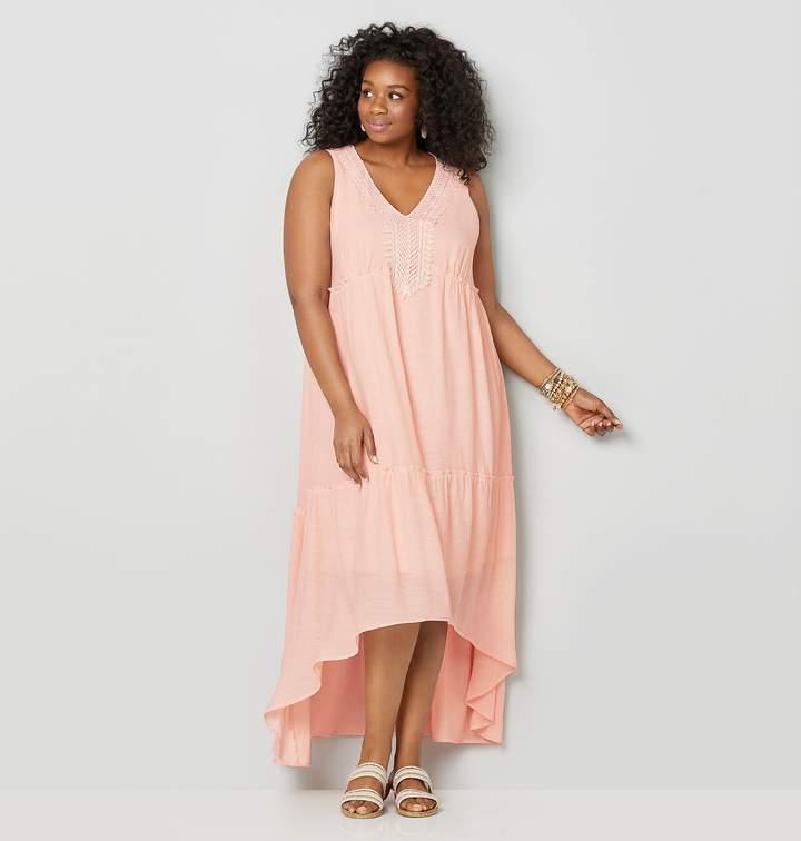 Plus Size Lace Applique Hi-Lo Maxi Dress