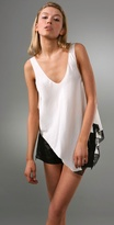 Asymmetrical Lingerie Tank with Lace Trim