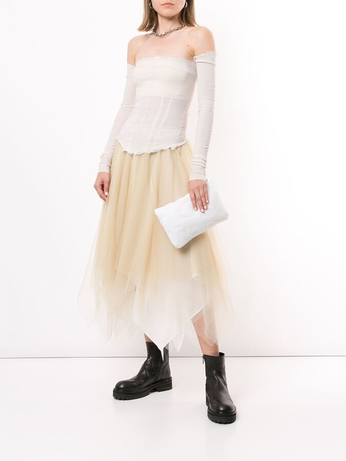 Thumbnail for your product : Marc Le Bihan Raw-Edge Off-The-Shoulder Crepon Top