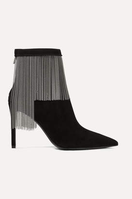 Balmain Mercy Chain-embellished Suede Ankle Boots - Black