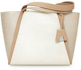 Akris Alex Tricolor Bucket Tote Bag, Ivory