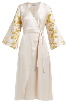 Osman Floral Embroidered Satin Wrap Dress - Womens - Ivory Multi