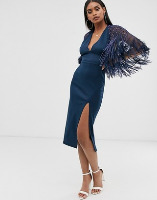 Asos Design DESIGN faux feather cape midi dress-Navy