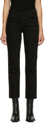 Alexander Wang Black High-Rise Logo Print Jeans