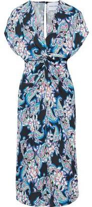 Prabal Gurung Twist-front Printed Silk-cady Midi Dress