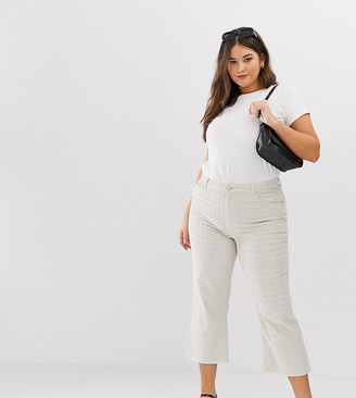 Asos DESIGN Curve Egerton rigid cropped flare jeans in putty check cord