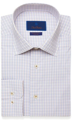 David Donahue Trim Fit Performance Check Dress Shirt