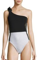 Fleur Du Mal One-Piece Striped Lace Insert One-Shoulder Swimsuit