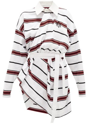 Matthew Adams Dolan - Long-sleeved Striped-cotton Rugby Shirt Dress - Womens - White Multi
