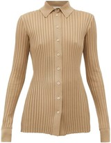 Bottega Veneta Ribbed-knit Silk Cardigan - Womens - Beige