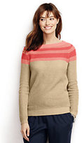 Classic Women's Petite Linen Boat Neck Sweater-White
