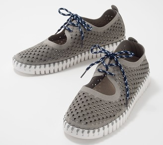 Ilse Jacobsen Perforated Slip-On Shoes with Laces - Tulip