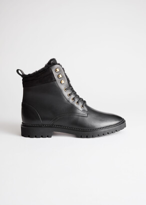 And other stories Leather Lace Up Snow Boots