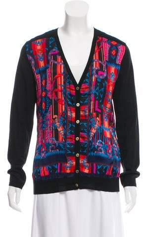 Versace Silk-Accented Wool Cardigan