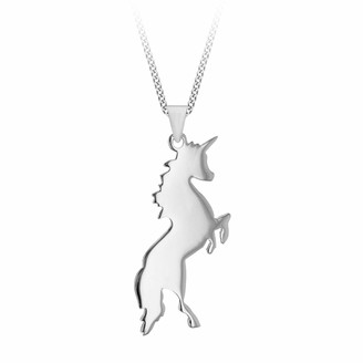 """Tuscany Silver Sterling Silver Unicorn Pendant on Curb Chain of 46cm/18"""""""