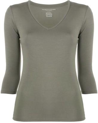 Majestic Filatures V-neck 3/4 sleeve top