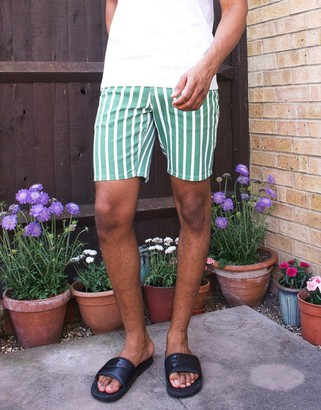 ASOS DESIGN slim short in green and white stripe in shorter length