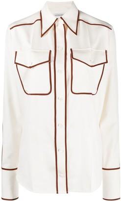 Victoria Beckham Contrast-Trim Silk Shirt