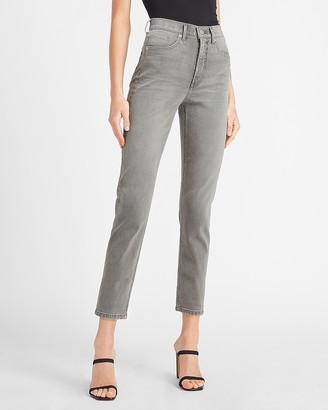 Express Super High Waisted Gray Faded Mom Jeans