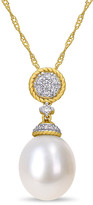 Pearls 14K 0.15 Ct. Tw. Diamond & 10-10.5Mm Freshwater Pearl Drop Pendant Necklace