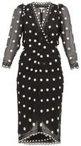 Rebecca Taylor Polka-dot Silk-chiffon Midi Dress - Womens - Black Multi