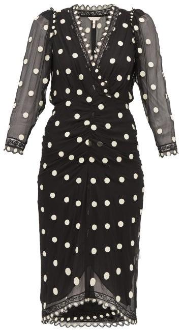 Rebecca Taylor Polka Dot Silk Chiffon Midi Dress - Womens - Black Multi