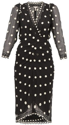 Rebecca Taylor Polka-dot Silk-chiffon Midi Dress - Womens - Black Multi