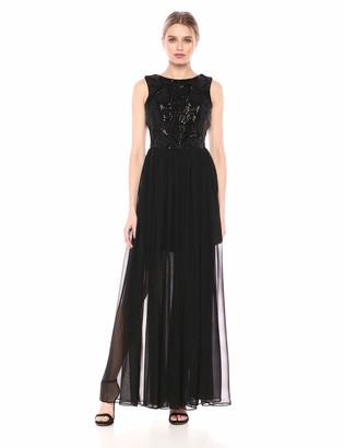 Dress the Population Women's Carey Sequin and Chiffon FIT & Flare Sleeveless Long Dress
