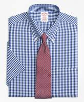 Brooks Brothers Non-Iron Madison Fit Framed Check Short-Sleeve Dress Shirt
