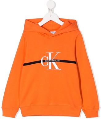 Calvin Klein Kids Long Sleeve Logo Stripe Hoodie