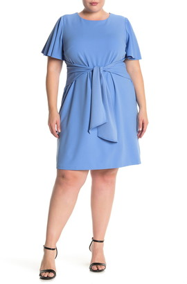Donna Morgan Short Sleeve Tie Front Stretch Crepe Dress