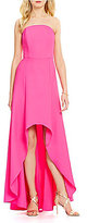 Laundry by Shelli Segal Strapless Hi-Low Solid Crepe Dress