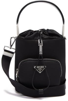 Prada Logo-plaque Nylon Bucket Bag - Black White