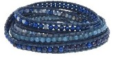 Chan Luu Blue Mix Wrap Bracelet on Blue Leather