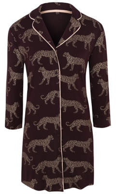 George Purple Leopard Pattern Collared Nightdress