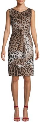 Roberto Cavalli Draped Leopard-Print Dress