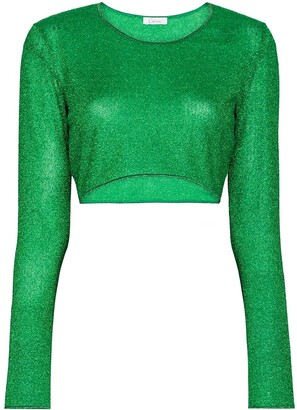 Oseree Metallic Effect Cropped Top