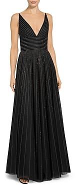 St. John English Tulle V Neck Sequin Detail Gown