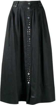 Ganni studded A-line midi skirt
