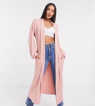 ASOS DESIGN Tall exclusive lounge rib cardigan in pink