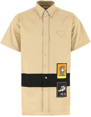 Prada Oversized Logo Patch Shirt