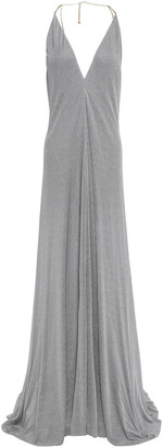 Nina Ricci Open-back Chain-trimmed Lame Gown