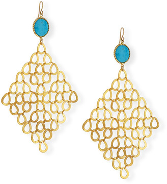 Devon Leigh Turquoise Chain-Link Statement Earrings