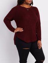 Charlotte Russe Plus Size Shaker Stitch Zip-Back Sweater