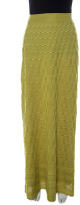 M Missoni Lime Green Wool Blend Knitted Maxi Skirt S