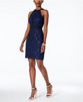 Night Way Nightway Petite Sequined Lace Halter Sheath Dress