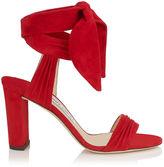 Jimmy Choo KORA 85 Navy Soft Suede Sandals