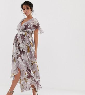 Asos DESIGN Maternity cape back dipped hem maxi dress in patchwork floral