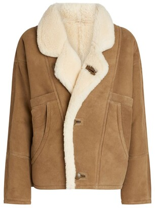 Sandro Leather Shearling Coat
